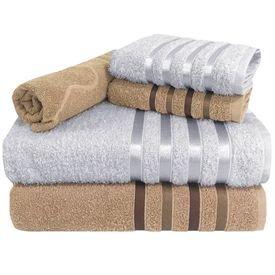 toalha de banho jogo de toalha 5 pecas 2 banho 2 rosto 1 piso cores bege e branca p 1581615466591